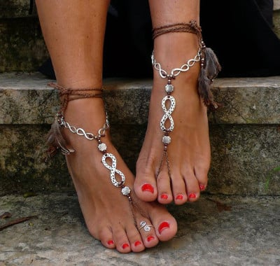 The hippie sandals with a sign of Aquarius
