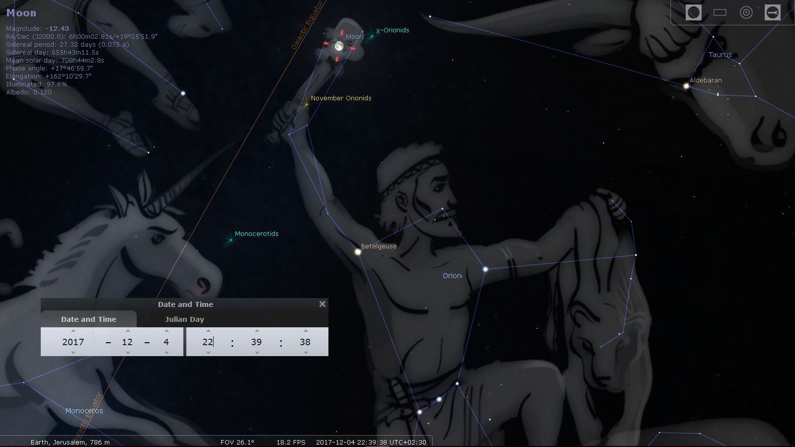The Supermoon in Orion's Hand