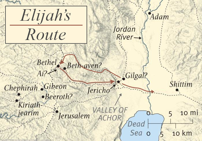 Map of Elijah's Route