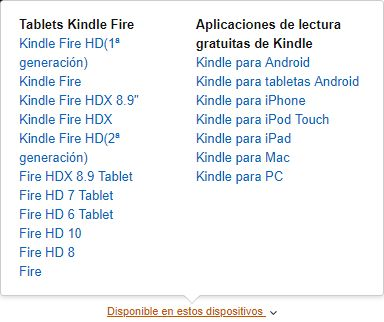 Lista de Amazon de dispositivos Kindle Fire compatibles
