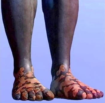 Feet made of iron and clay mixed together